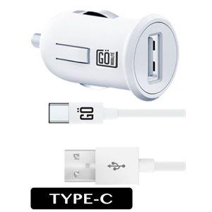 Chargeur GO TYPE-C pour l'auto 2.1amp câble 5' - Blanc